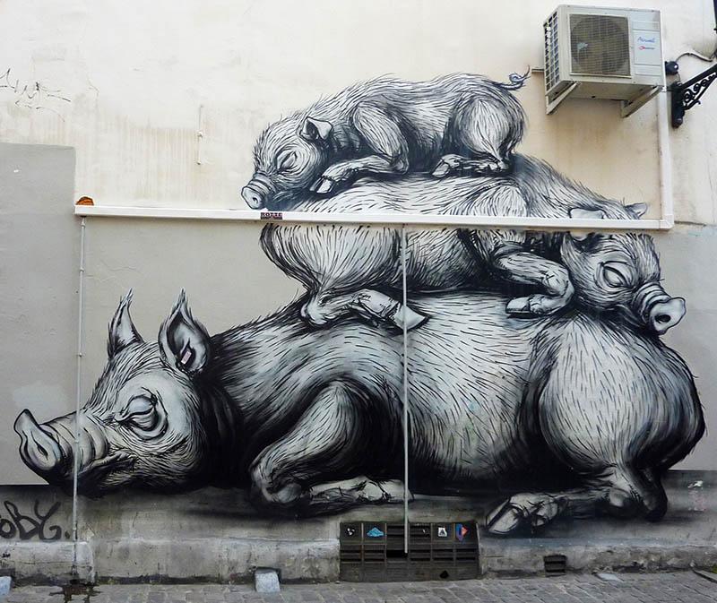 bruxelles cochons roa sonke