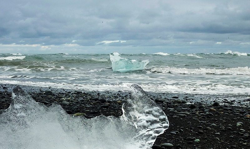 Jokulsarlon glace plage mer islande
