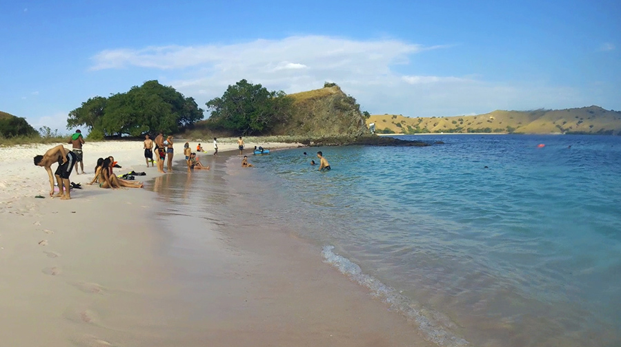 komodo pink beach plage sable rose