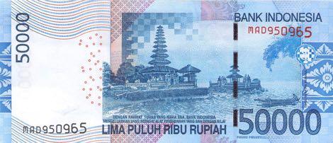 billet 50000 50k idr roupie indonesie  indonesie bali ulun danu beratan temple